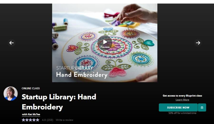 Course: Startup Library: Hand Embroidery