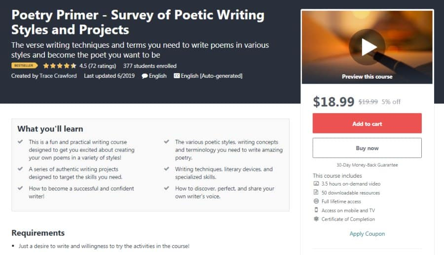 Poetry Primer - Survey of Poetic Writing Styles and Projects