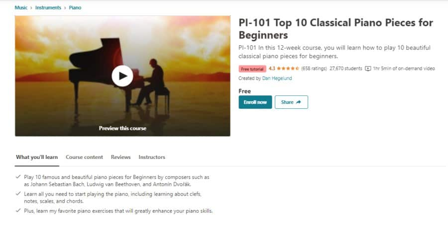 PI-101 Top 10 Classical Piano Pieces for Beginners