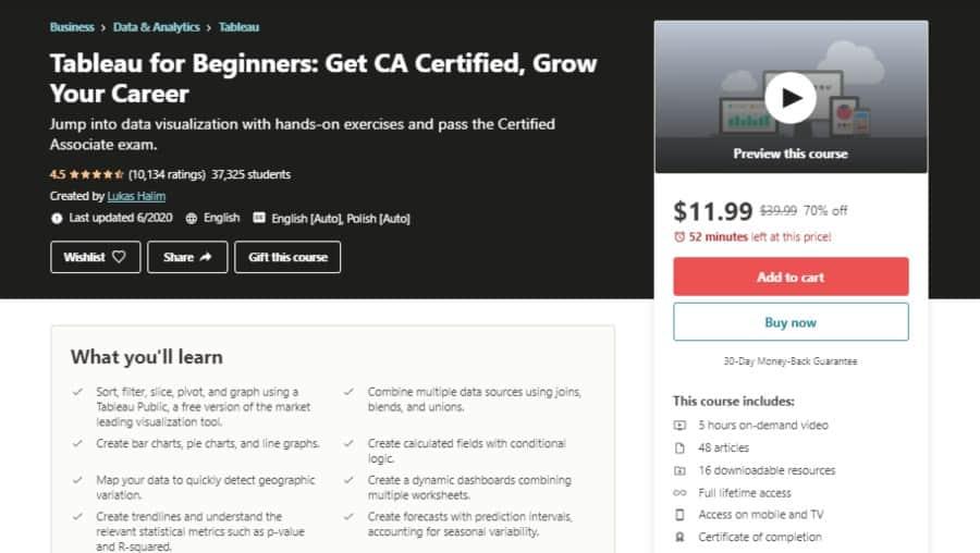 Tableau for Beginners: Get CA Certified, Grow Your Career