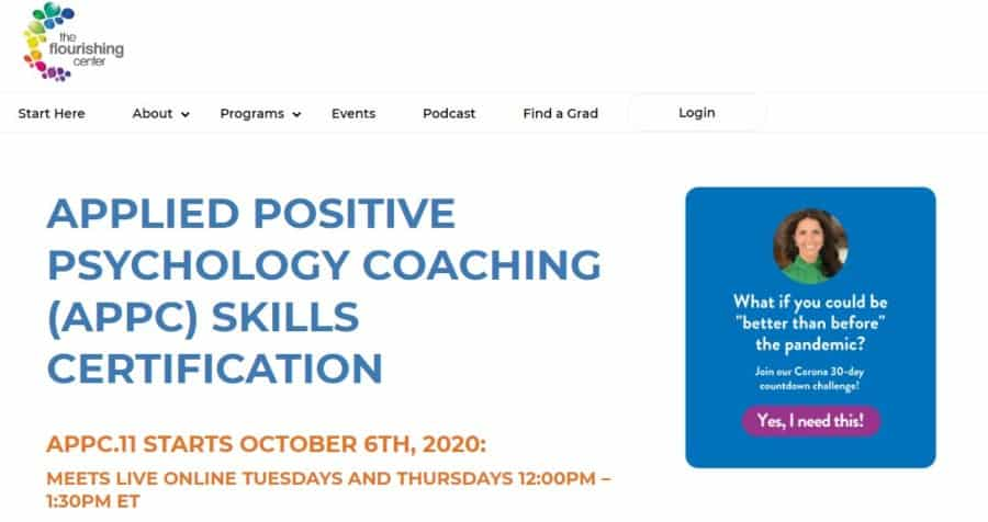 Applied Positive Psychology Coaching (APPC) Skills Certification