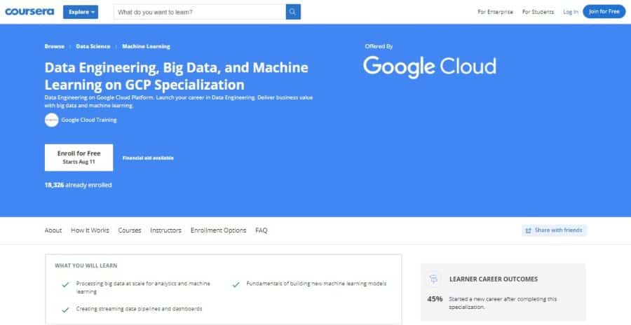 Data Engineering, Big Data, and Machine Learning on GCP Specialization