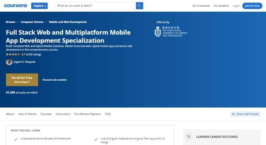 Full Stack Web and Multiplatform Mobile App Development – Specialization