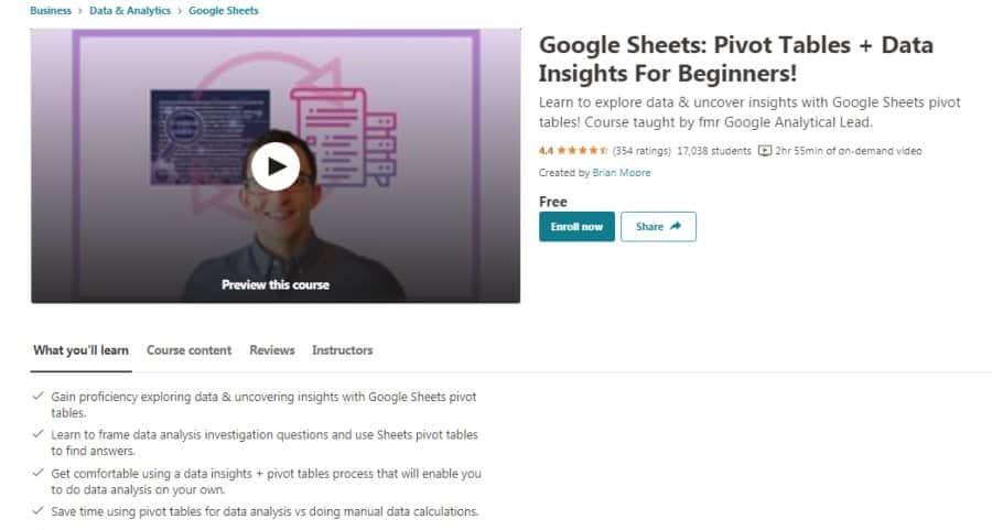 Google Sheets: Pivot Tables + Data Insights For Beginners