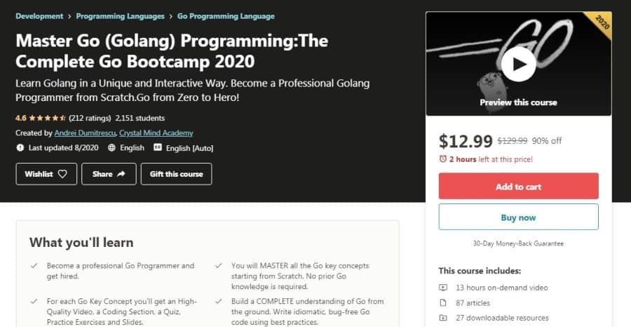 Master Go (Golang) Programming: The Complete Go Bootcamp 2020