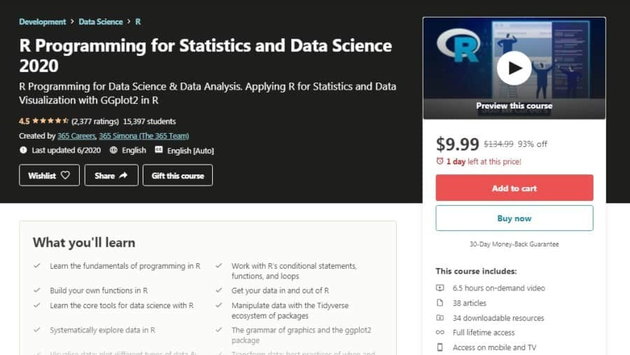 R Programming for Statistics and Data Science 2020
