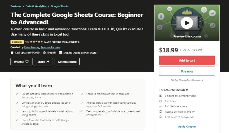 The Complete Google Sheets Course: Beginner to Advanced!
