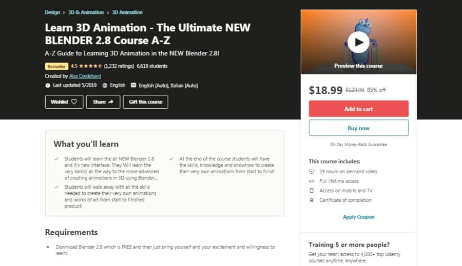 Ultimate 3D Animation- The Ultimate NEW BLENDER 2.8 Course A-Z