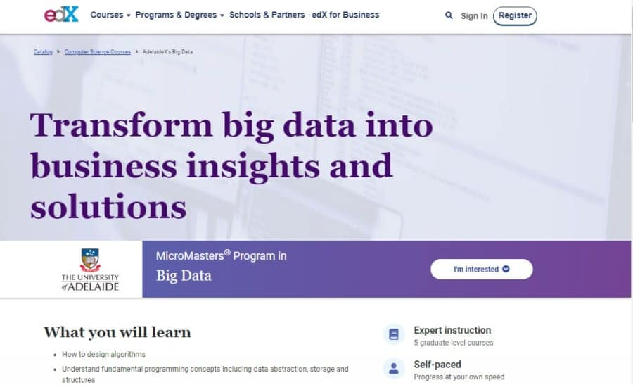 University of Adelaide MicroMasters Program in Big Data