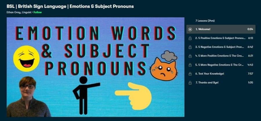 BSL: British Sign Language: Emotions & Subject Pronouns