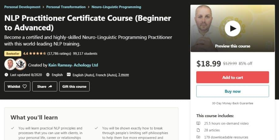 NLP Practitioner Certificate Course (Beginner to Advanced)