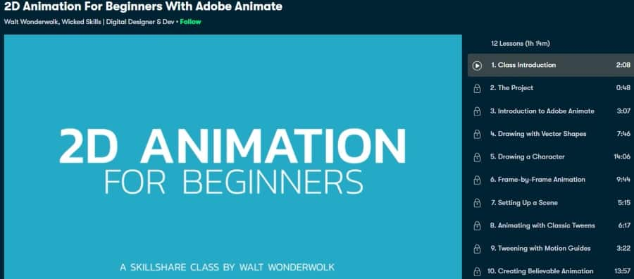 1. 2D Animation For Beginners With Adobe Animate (Skillshare)