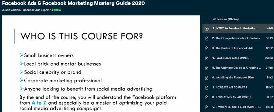 1. Facebook Ads & Facebook Marketing Mastery Guide 2020 (Skillshare)