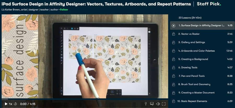 1. iPad Surface Design in Affinity Designer_ Vectors, Textures, Artboards, and Repeat Patterns (Skil