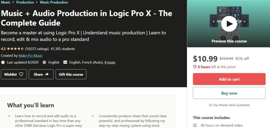 12. Music + Audio Production in Logic Pro X - The Complete Guide (Udemy)