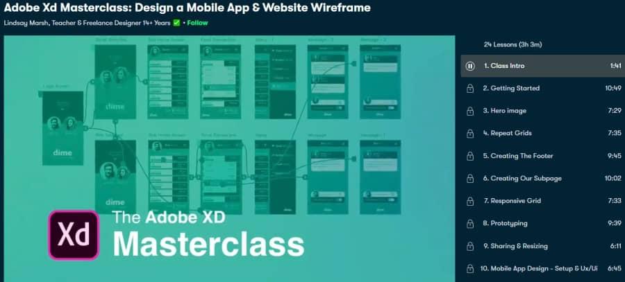 2. Adobe Xd Masterclass Design a Mobile App & Website Wireframe (Skillshare)