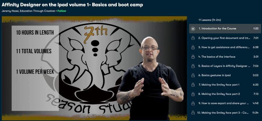 2. Affinity Designer on the iPad volume 1- Basics and boot camp (Skillshare)