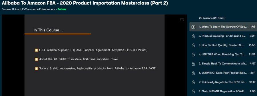2. Alibaba To Amazon FBA - 2020 Product Importation Masterclass – Part 2 (Skillshare)