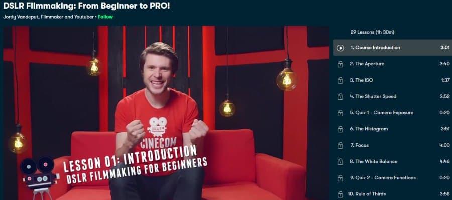 2. DSLR Filmmaking From Beginner to PRO! (Skillshare)