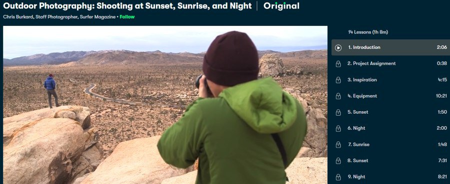 2. Outdoor Photography Shooting at Sunset, Sunrise, and Night (Skillshare)