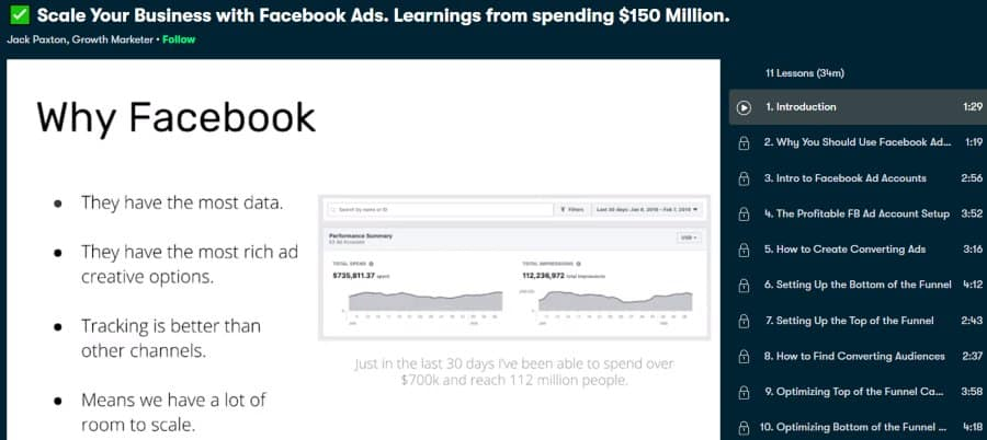 2. Scale Your Business with Facebook Ads. Learnings from spending $150 Million (Skillshare)