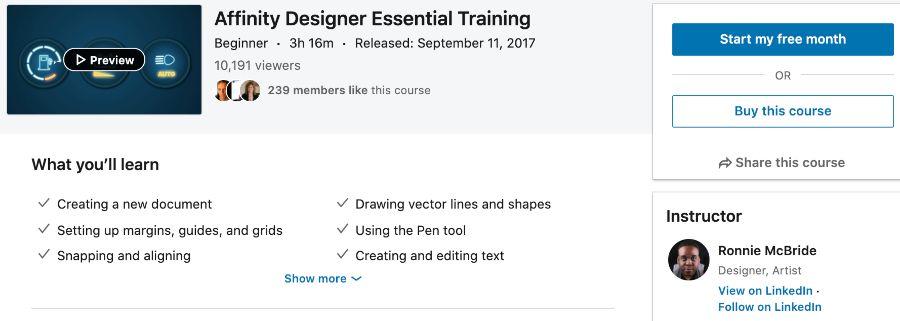 3. Affinity Designer Essential Training (LinkedIn Learning)