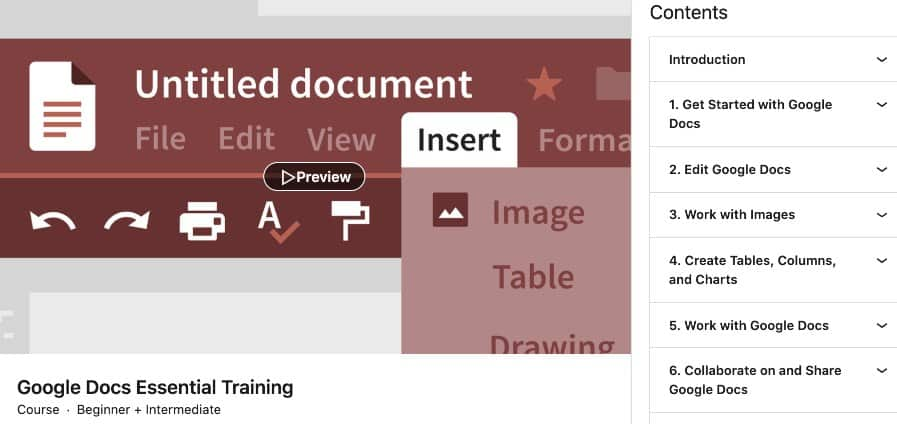 3. Google Docs Essential Training (LinkedIn Learning)