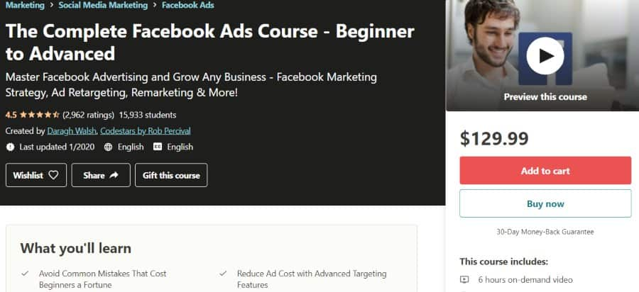 3. The Complete Facebook Ads Course - Beginner to Advanced (Udemy)