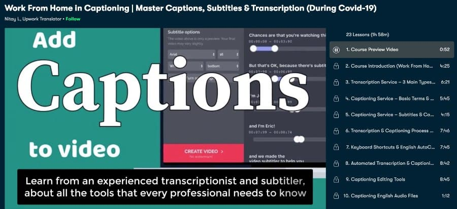 3. Video Editing Course: Master Captions, Subtitles & Transcription Tools! (Skillshare)