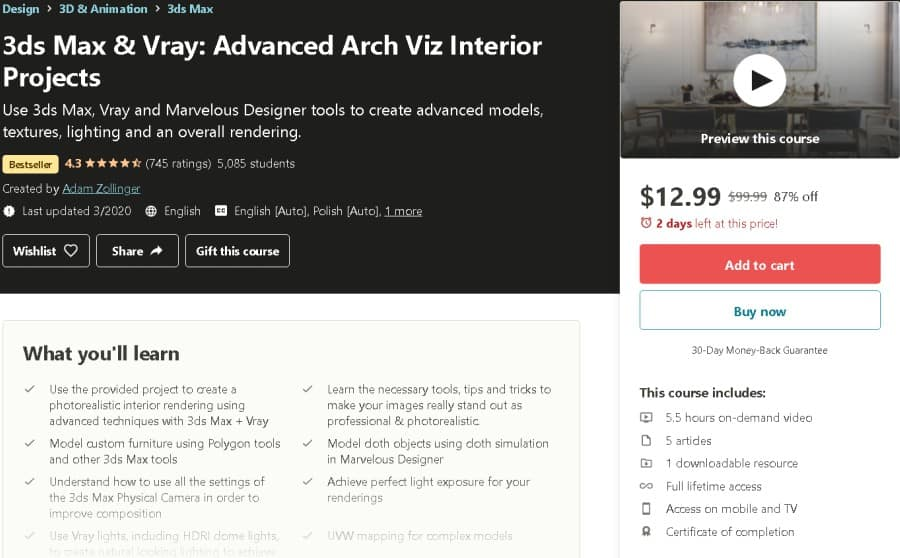 3ds Max & Vray Advanced Arch Viz Interior Projects (Udemy)