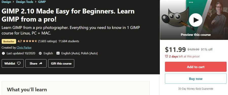 4. GIMP 2.10 Made Easy for Beginners. Learn GIMP from a pro! (Udemy)