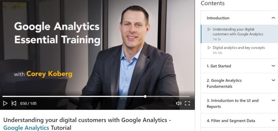 4. Google Analytics Essential Training (LinkedIn Learning)