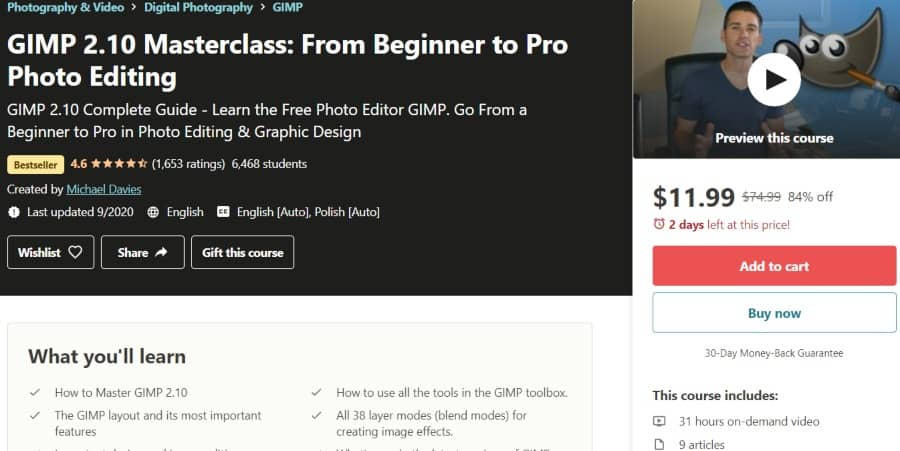 5. GIMP 2.10 Masterclass From Beginner to Pro Photo Editing (Udemy)