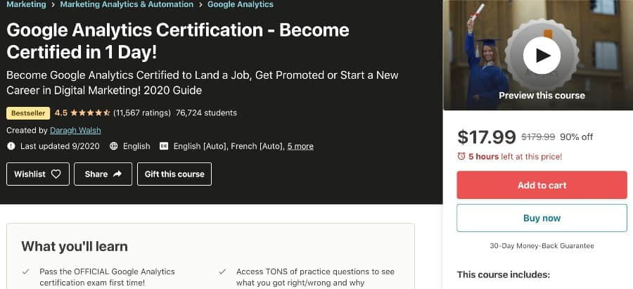 5. Google Analytics Certification_ Become Certified & Earn More (Udemy)