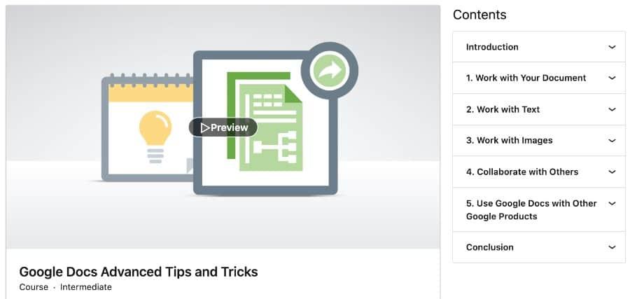 5. Google Docs Advanced Tips and Tricks (LinkedIn Learning)