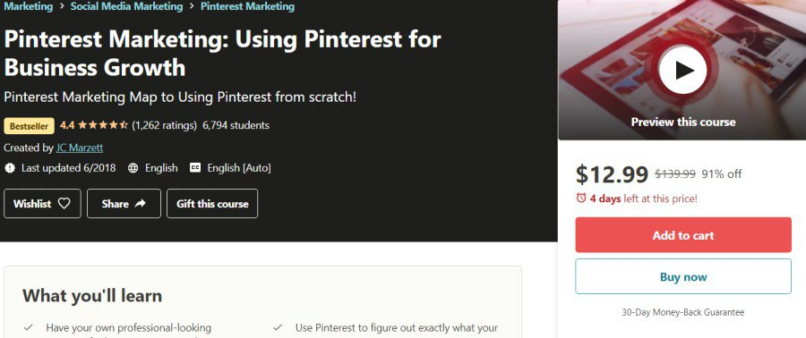 5. Pinterest Marketing Using Pinterest for Business Growth (Udemy)