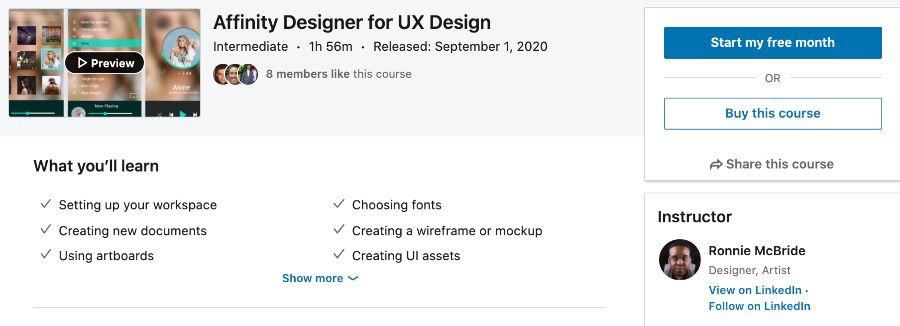 6. Affinity Designer for UX Design (LinkedIn Learning)