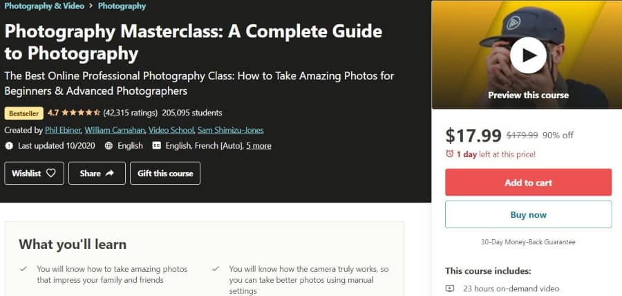 6. Photography Masterclass A Complete Guide to Photography (Udemy)