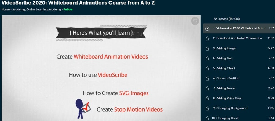 6. Videoscribe 2020 Whiteboard Animations Course from A to Z (Skillshare)