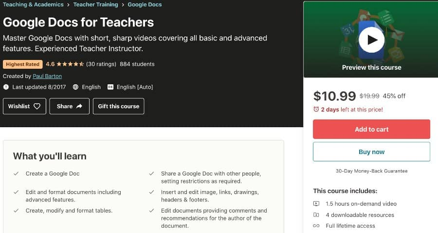 7. Google Docs for Teachers (Udemy)