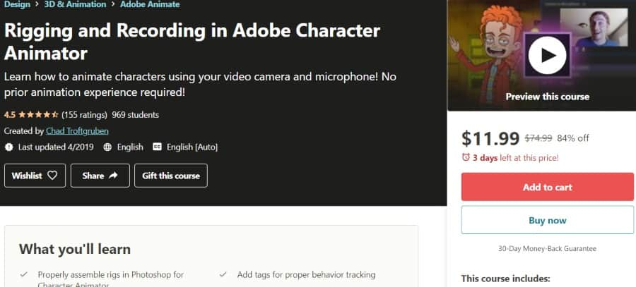 7. Rigging and Recording in Adobe Character Animaton (Udemy)