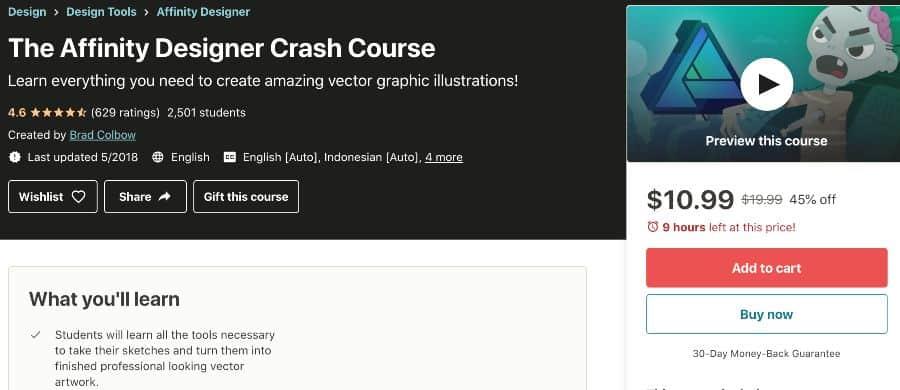 7. The Affinity Designer Crash Course (Udemy)