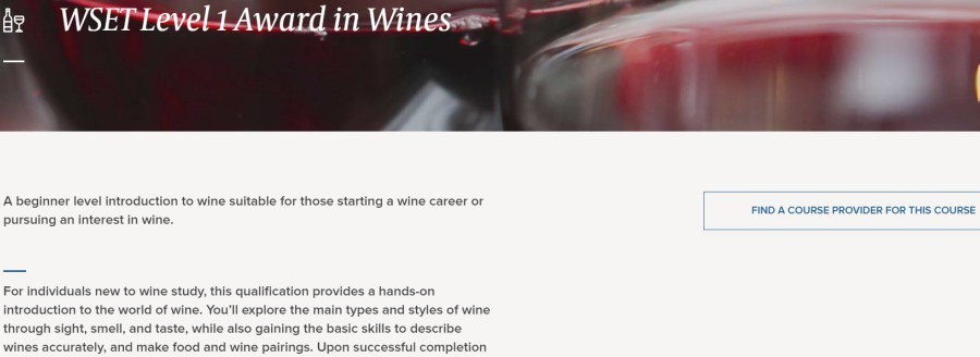 7. WSET Level 1 Award in Wines (Wine & Spirit Education Trust -WSET)