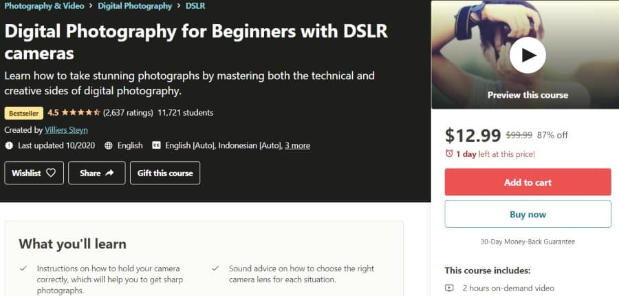 8. Digital Photography for Beginners with DSLR cameras (Udemy)