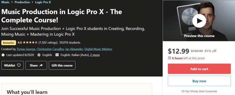 8. Music Production in Logic Pro X - The Complete Course! (Udemy)