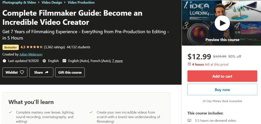 9. Complete Filmmaker Guide Become an Incredible Video Creator (Udemy)