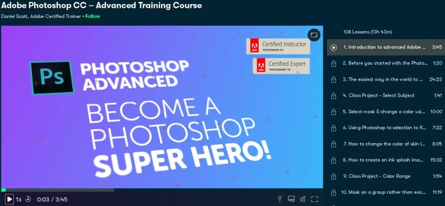 Adobe Photoshop CC – Advanced Training Course (Skillshare)