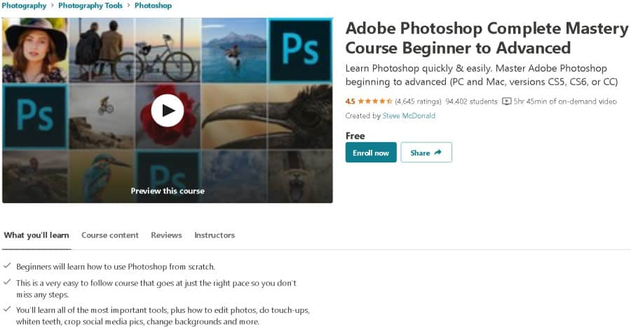 Adobe Photoshop Complete Mastery Course Beginner to Advanced (Udemy)