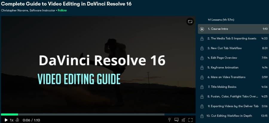 Complete Guide to Video Editing in DaVinci Resolve 16 (Skillshare)