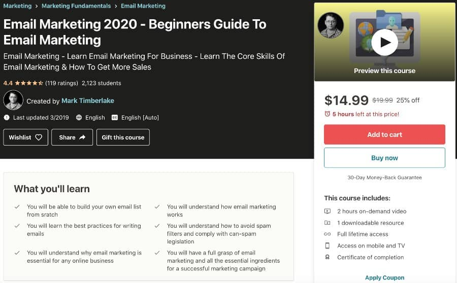 Email Marketing 2020 Beginners Guide To Email Marketing (Udemy)
